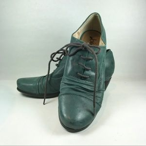 Biala Teal Leather Oxford Lace Up shoes